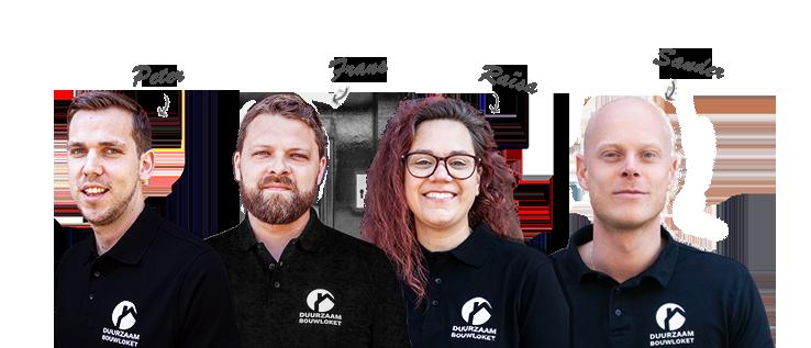 Adviseurs Duurzaam Bouwloket: Raoul, Eric, Michiel en Gijs